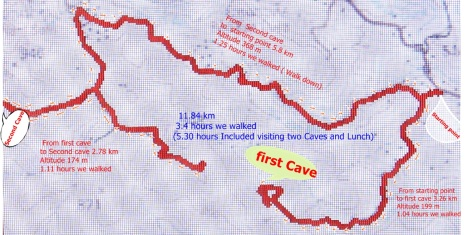 Track to the two caves