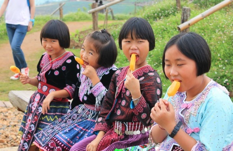 Mong girls with Popsicles photo Pam
