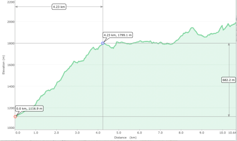 Up Doi Lanka altitude graph