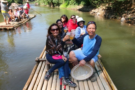 A happy time on Bamboo Rafting