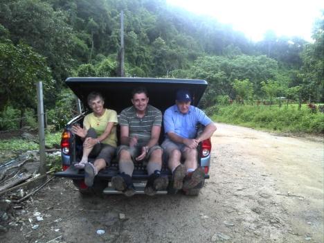 Three happy hikers