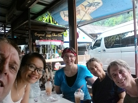 Selfie of core group hikers taking refreshment at Doi Suthep - by William M.